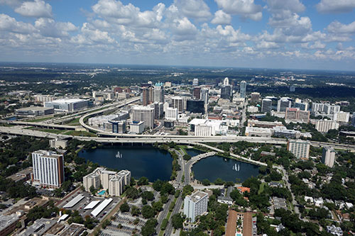 aerial city view of orlando