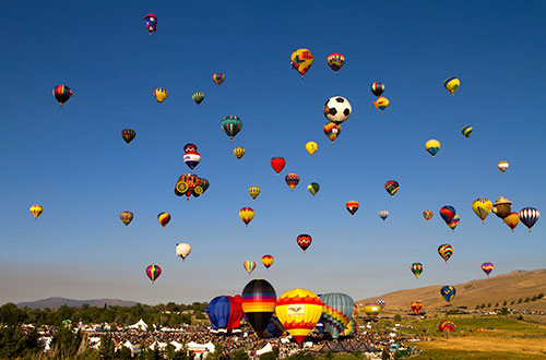 Hot Air Balloons in the Sky in Reno