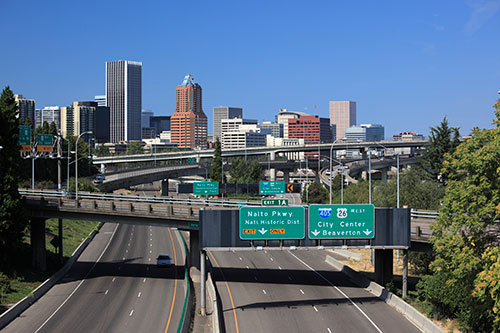 View of Portland and the freeway